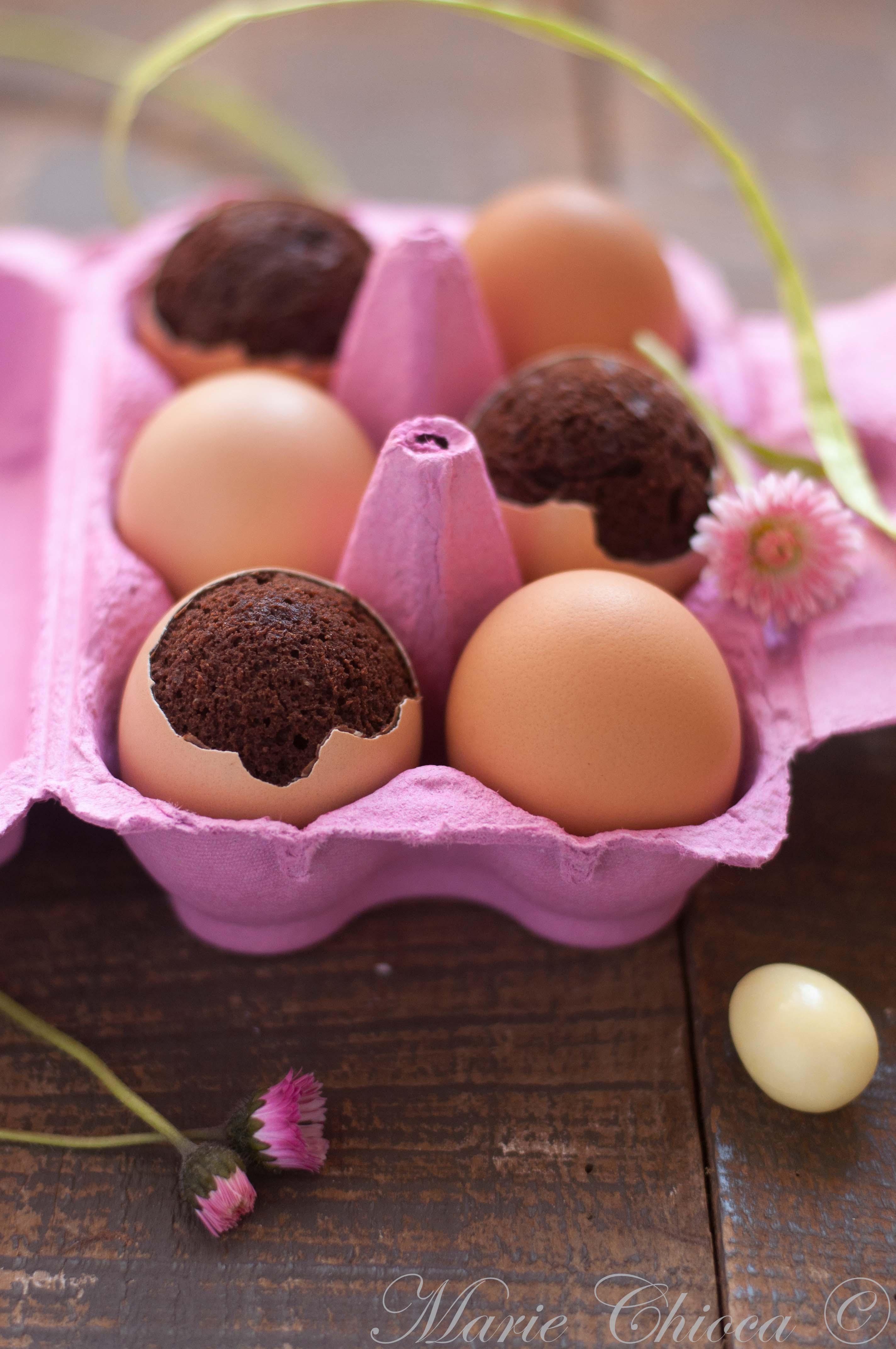 Petits oeufs de Pâques en brownies pralinés