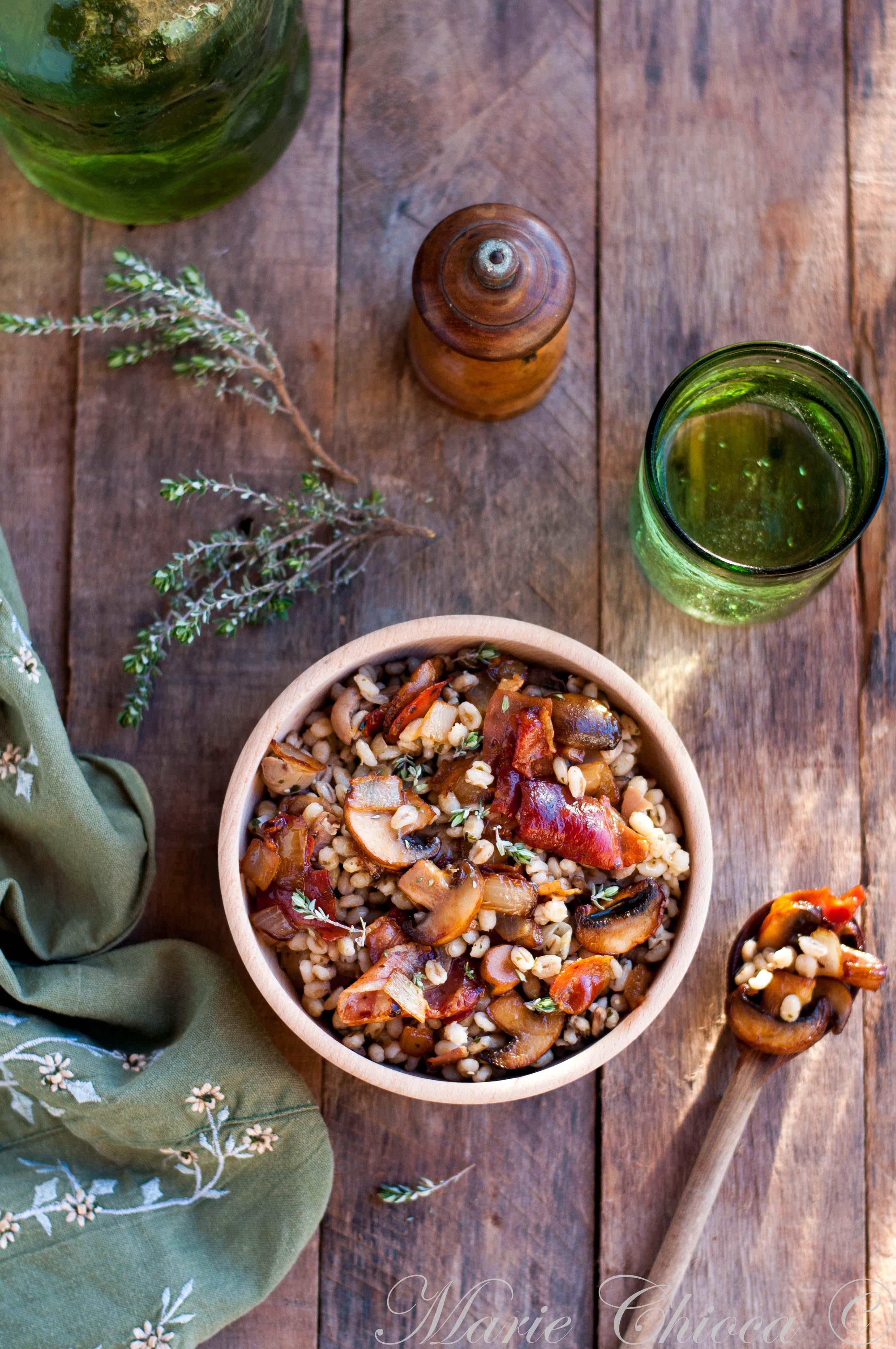 Orge mondé aux champignons, jambon fumé et thym frais 1