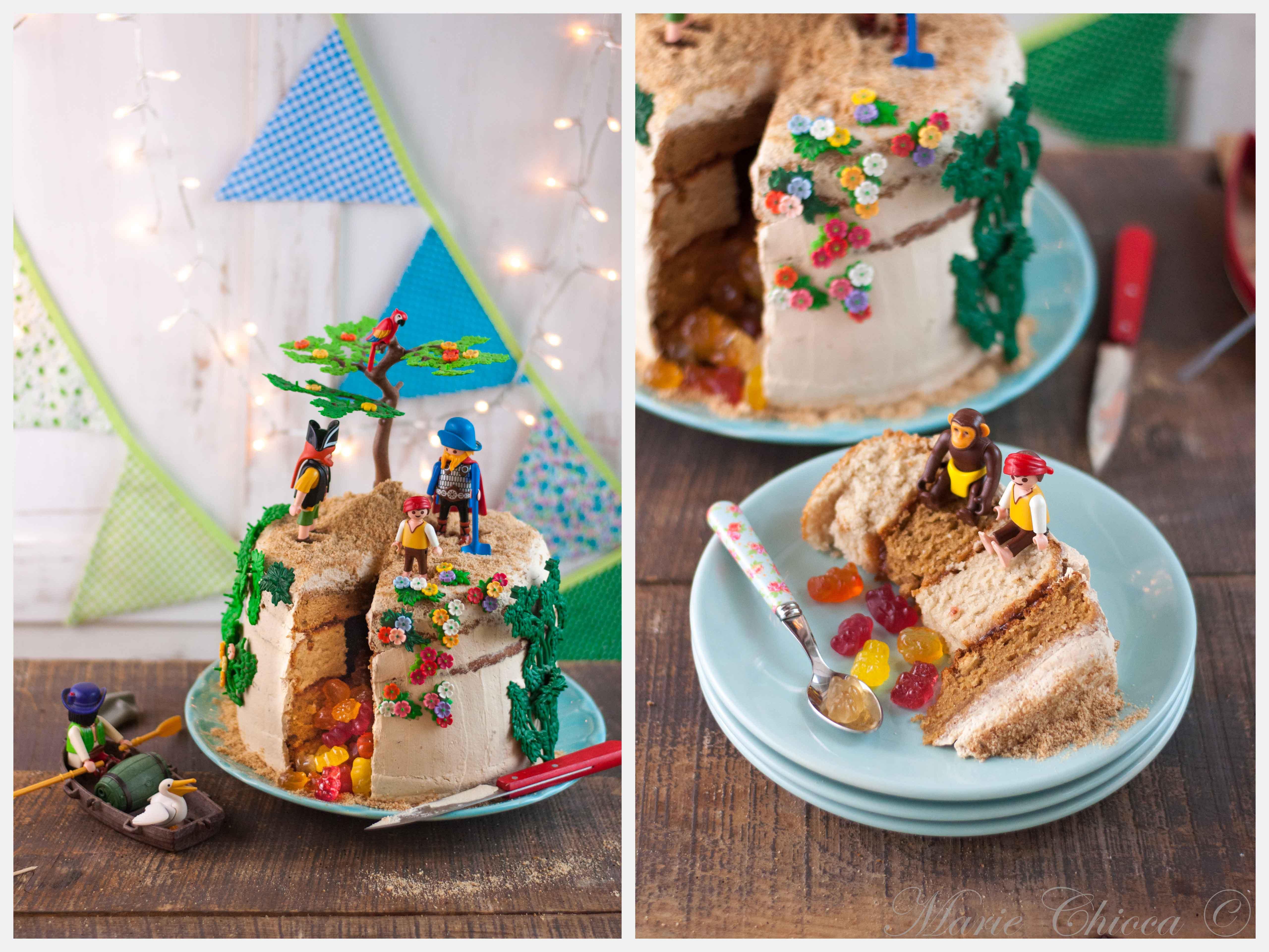 Gâteau pinata île au trésor