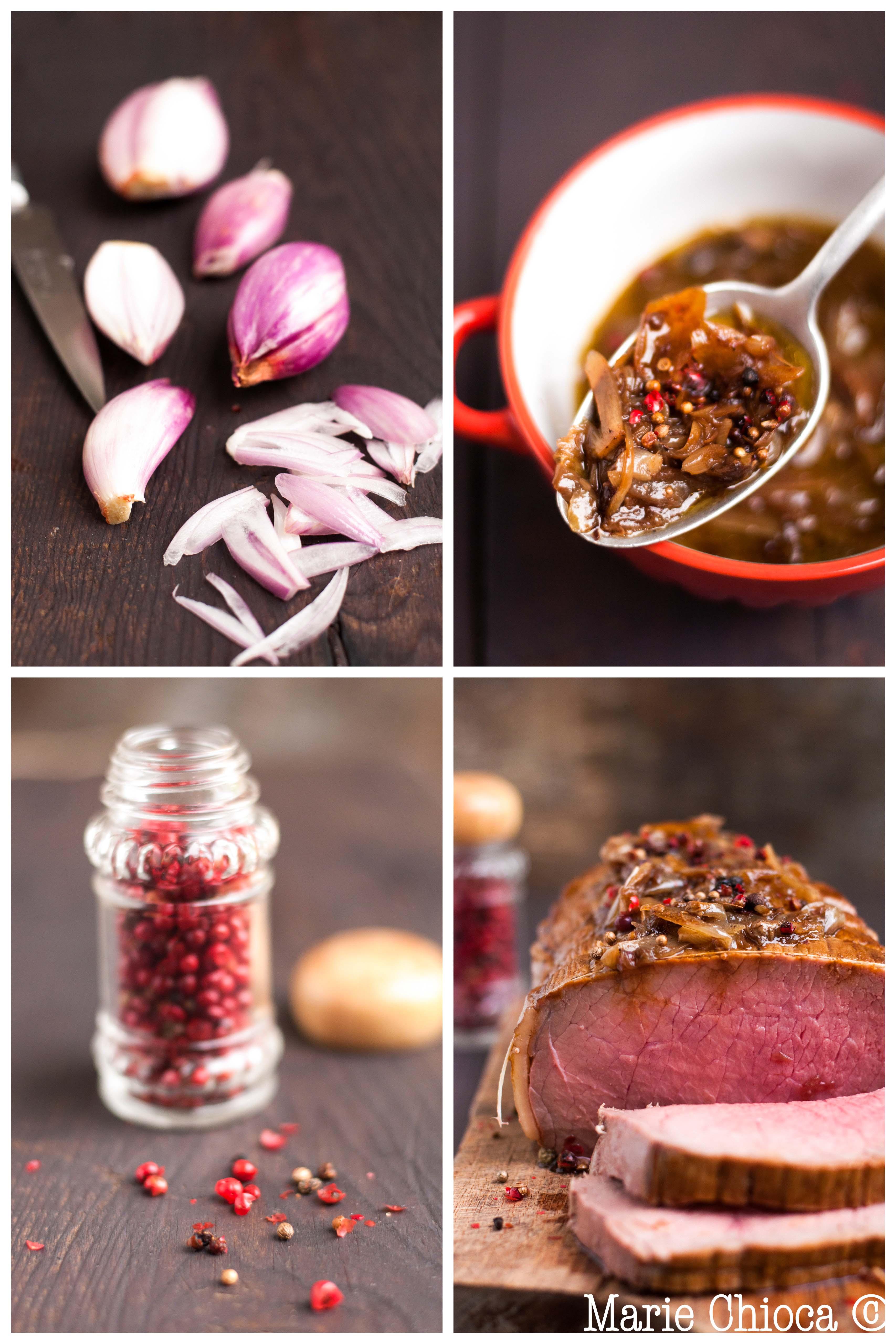 rôti de boeuf rosé aux échalotes caramélisées et poivre 5 baies (montage)_-2-2
